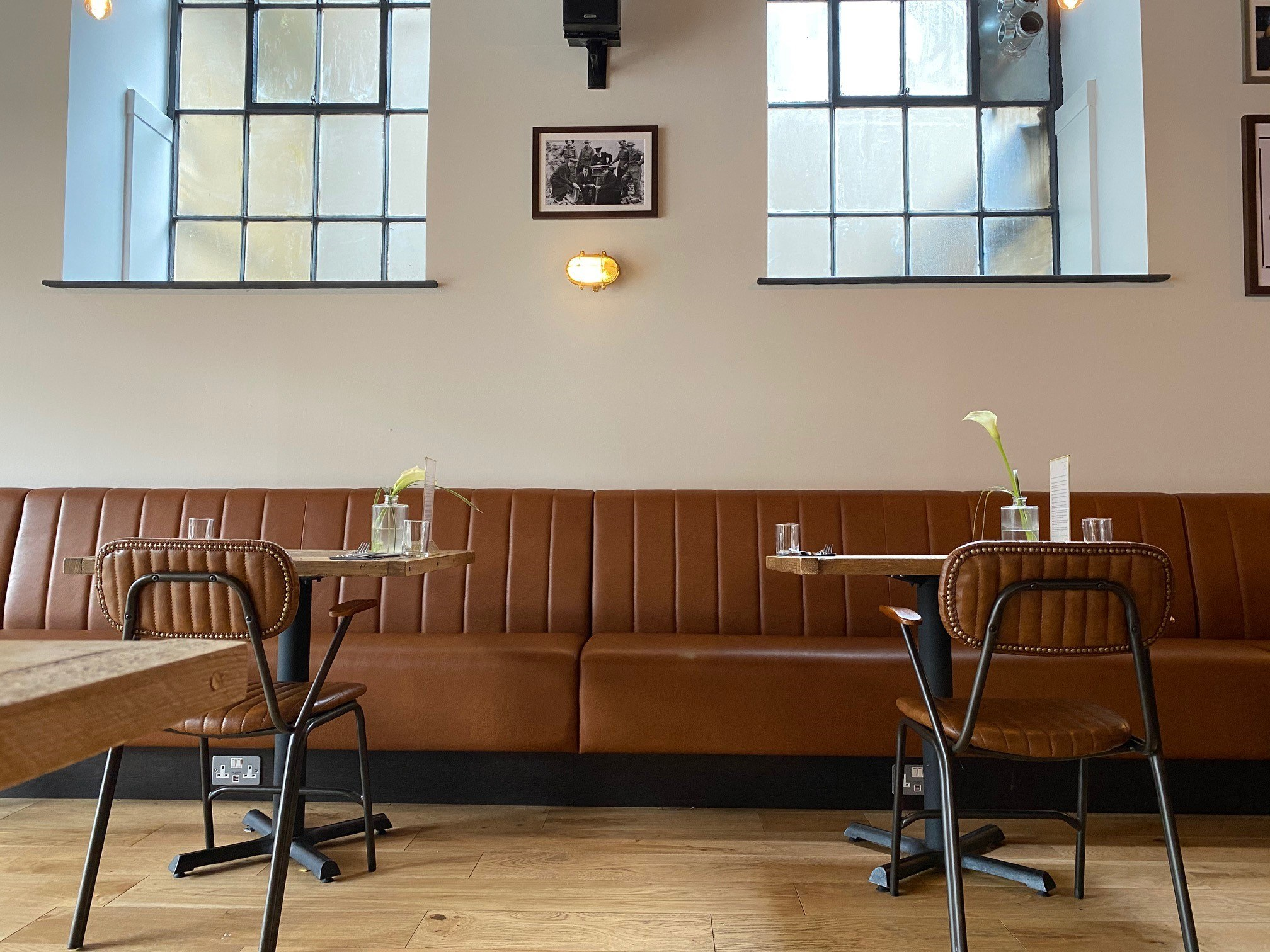 Banquette Restaurant Seating | Fluted Back | Tanned Faux Leather