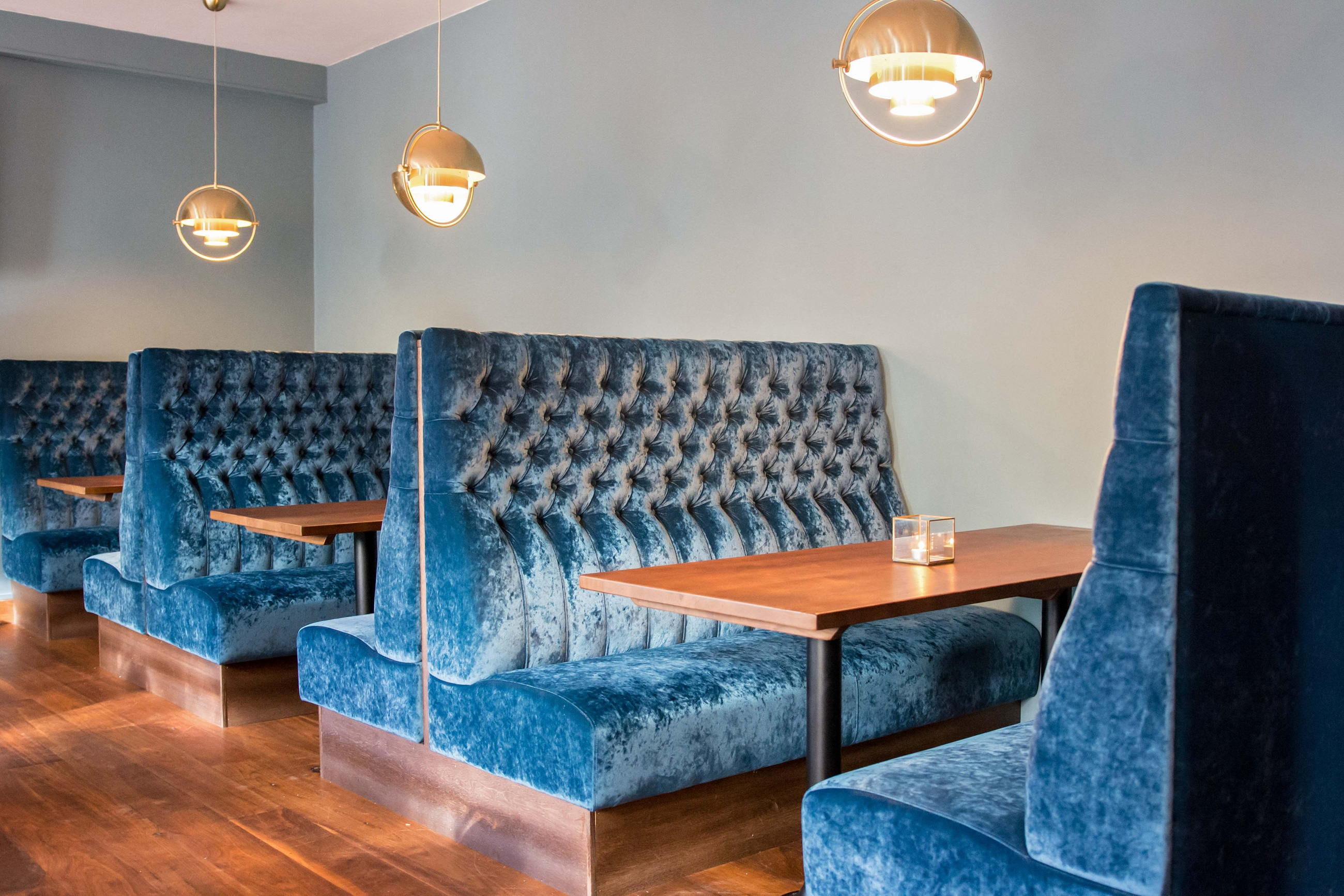Banquette Seating in Blue Crushed Velvet