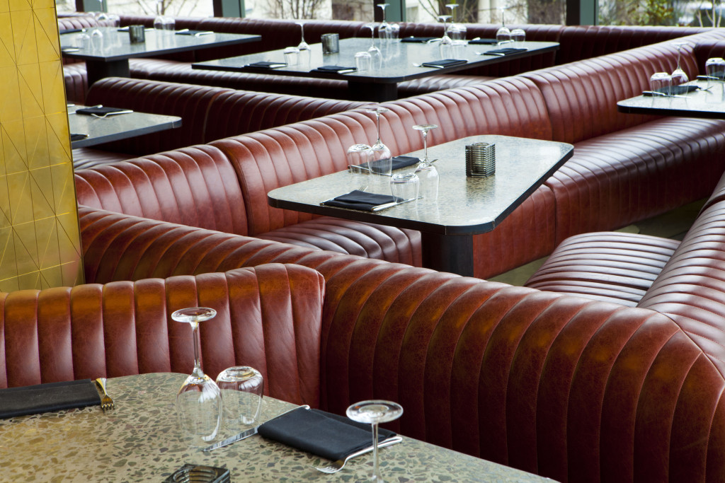 Fluted back seating at Jamie Oliver's Barbecoa