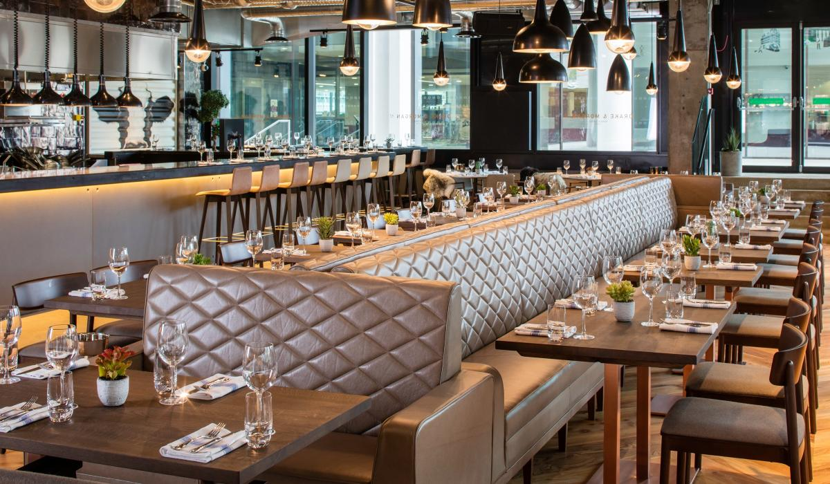 Diamond Stitched Leather Banquette Seating