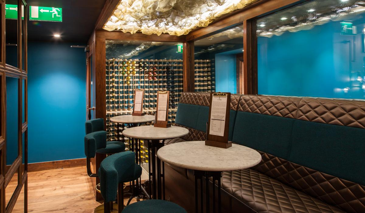 Criss Cross leather banquette seating | Megaro Hotel Kings Cross